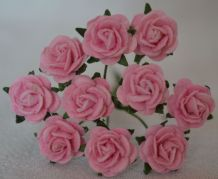 1 cm LIGHT PINK Mulberry Paper Roses